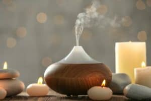 Essential oil diffuser and candles