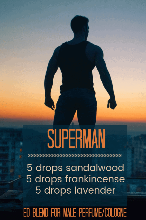 An essential oil blend for your super man - big, brave and strong. Click through for a guide on how to make up a'manly' perfume. #essentialoils
